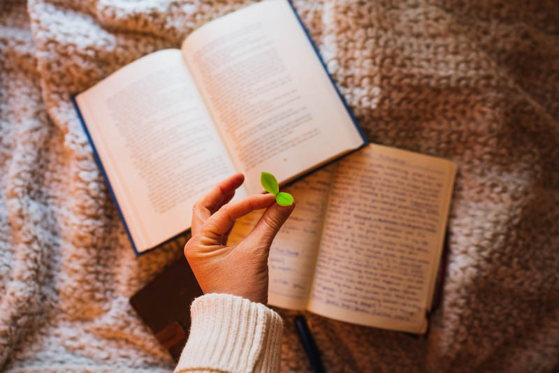 Reading and Journaling in a cozy spot, using our favorite bookmarks, the sprout.