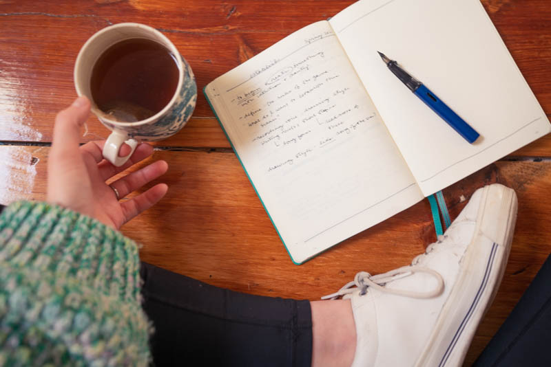Writing in my idea-book (coffee in hand)