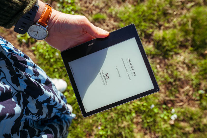 My e-reader opened to 'The Secret Lake'