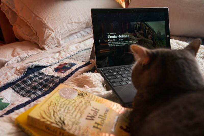 Ned, the cat, enjoying Enola Holmes on Netflix and possibly thinking of joining our book club.