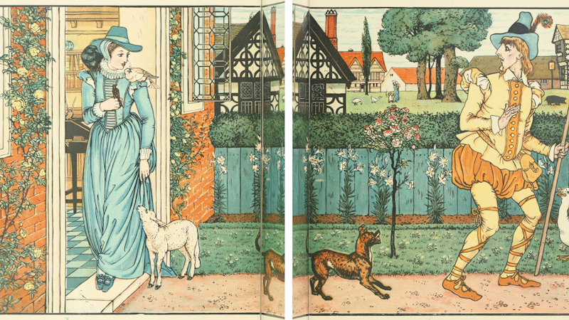 Old Book Illustrations, Playful Dog, Walter Crane from Goody Two Shoes.