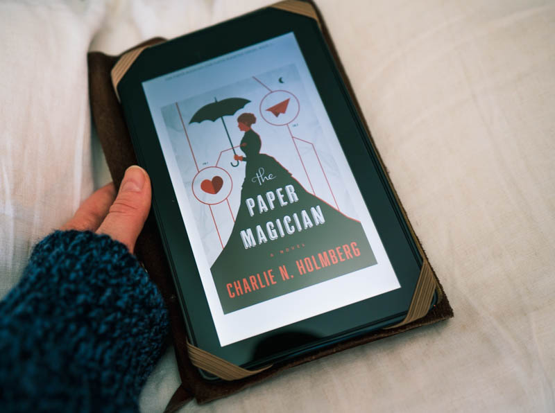 The Paper Magician by Charlie N. Holmberg, ebook, featuring Bryan's sweater.