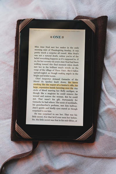 The first page of the first chapter of Still Life, Louise Penny Kindle Edition.