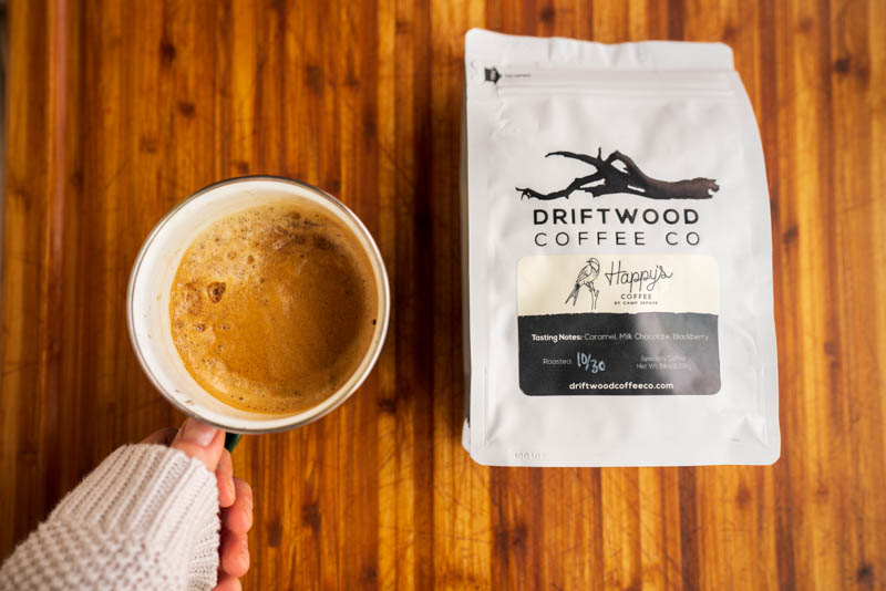 Driftwood coffee beans from Camp Zephyr and a cup of coffee