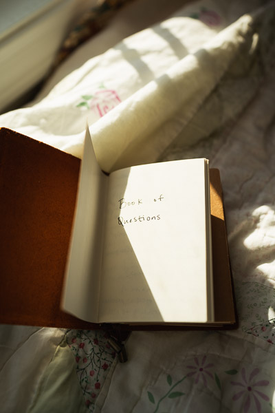 Book of Questions in my leather journal gifted by my still favorite brother, Tyler.