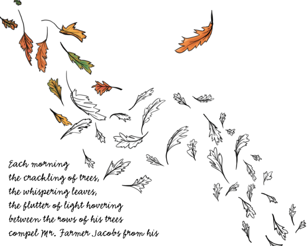A work in progress, drawn leaves fluttering in the wind, with the first paragraph of AFF.