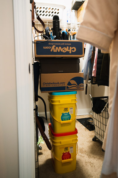 The Blue Yeti atop a plastic tower in the closet studio. Making it work.