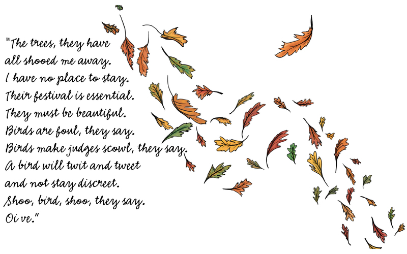 Autumn leaves floating in the wind and a quote from chapter four.