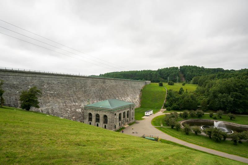 Side view of the Wachusett Dam in Clinton, Massachussetts