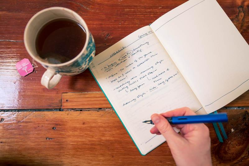 Drinking Rose Tea while brainstorming my goals surrounding the word of the season, establish.