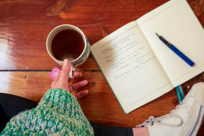 Drinking Rose tea while scribbling ideas for the word of the season (establish) wearing my favorite Easter egg sweater.