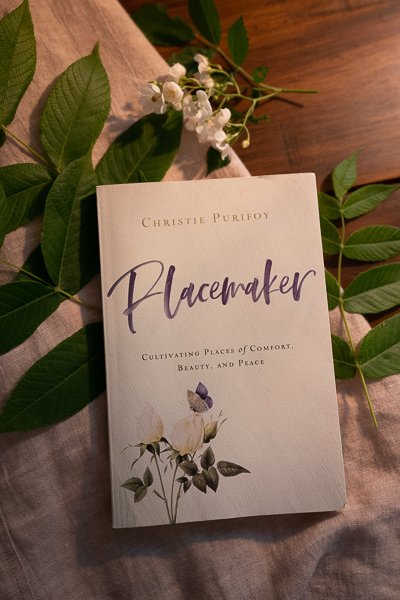 Placemaker by Christie Purifoy on top of a bed of branches picked from my backyard in late spring New England.