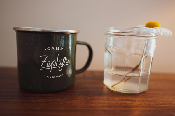 Camp Zephyr tin mug and a lovely flower picked from a recent walk around the neighborhood.