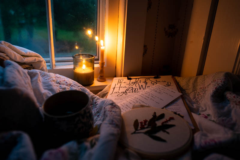 A cup of warm chamomile tea in the J cup while reading The Light in Stars
