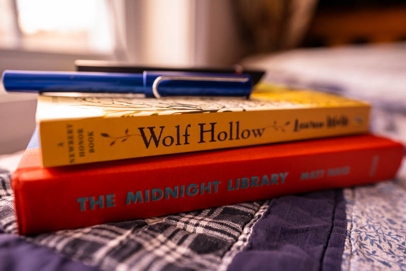 January Reads: Wolf Hollow by Lauren Wolk stacked on top of Matt Haig's The Midnight Library.
