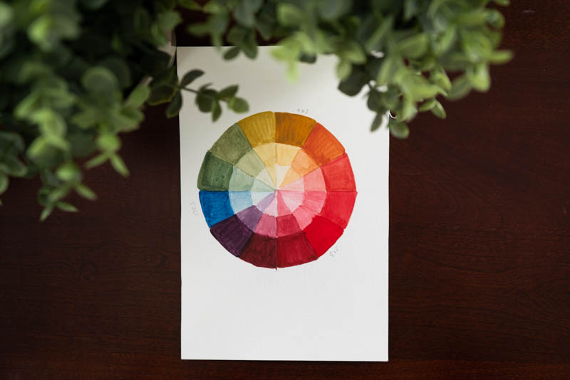 An image of my fully colored-in color wheel.